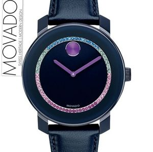 **NEW** Movado Bold Blue Crystal-set Dial Navy Lea